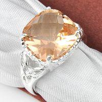 Wholesale 2pcs hight quality Silver Square Morganite Gemstone rings CR0607