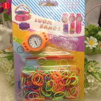 Wholesale FREE DHL Hot Newest DIY Knitting Braided loom Watch Rainbow Kit Rubber Loom Bands Self made Silicone Bracelet wxq310