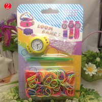 Wholesale Hot Newest DIY Knitting Braided loom Watch Rainbow Kit Rubber Loom Bands Self made Silicone Bracelet wxq310