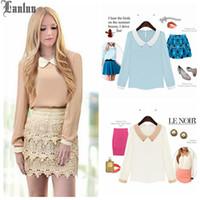 Cheap Lanluu 2014 Fashion Tops! Autumn Full Sleeve Peter Pan Collar Solid Wild Temperament Women Chiffon Blouse NM442