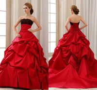 victorian ball gown wedding dresses - 2014 Fall Vintage Red and Black Gothic Victorian Ball Gown Wedding Dresses Beaded Lace Halloween Strapless Bridal Fancy Gowns Vestidos