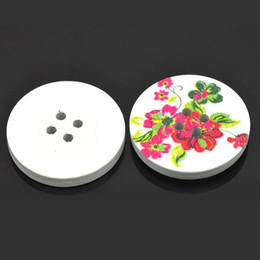 Wholesale 30PCs Wood Sewing Buttons Scrapbooking Flower Pattern Round Multicolor B24143 For Diy