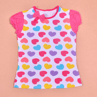 Wholesale Multi colour love girls t shirts kids clothes Hearts lively patterns printing Puff sleeve Cotton Summer fashion top F32