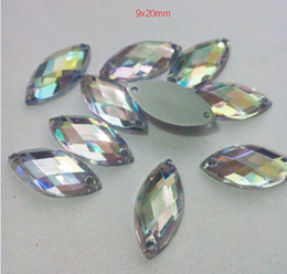 Wholesale 1000pcs set X9mm Clear AB Flat Back Navette Sew On Rhinestones Jewels High Quality Pro Grade Jewelry Findings Clothing Accessories DIY