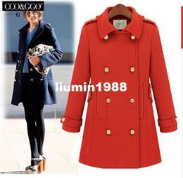 Wholesale new women fashion slim medium long British style turn down collar double breasted winter wool coat hot M0192