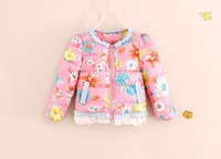 add down kids - Winter Children Down Coat Flower Printing Add Cotton Warm Girl Lace Floral Down Jacket Colour Kids Cotton Coat Different Size WD241