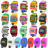 Wholesale 2014 fashion Fashion colorful Shhors Digital Watch Multifunction Lego Silicone LED Watches hot sell Children and Kid s Gifts