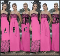 Wholesale Vintage Black and Hot Pink Bridesmaid Dresses Sheath Column Strapless Sleeveless Lace Satin Maid of Honor Ankle Length Long Dress