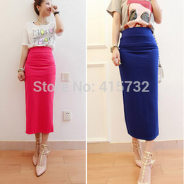 Free Shipping 2015 New Fashion Summer Slim Pencil Skirt Waisted Stretch ol Long Mid-claf Cotton Colorful Women Slit black long maxi Skirts