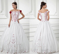 Cheap Vintage Off the Shoulder White and Red Embroidered Ball Gown Wedding Dresses 2014 Fall Cheap Halloween Cosplay Costume Lace up Celtic Gowns