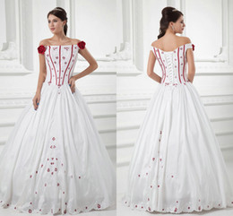 Wholesale Vintage Off the Shoulder White and Red Embroidered Ball Gown Wedding Dresses Fall Cheap Halloween Cosplay Costume Lace up Celtic Gowns