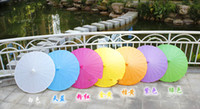 Wholesale Hot Wedding Parasols Paper Parasol Sun Umbrellas Bridal Accessories Handmade Diameter Solid Color Paper Umbrella Sunshade