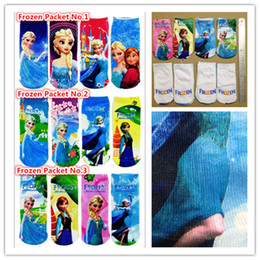 Wholesale Frozen Socks Anna Elsa Children Girls cartoon ankle socks girl s princess sneaker socks kids sockings S L SIZE pairs Hot New
