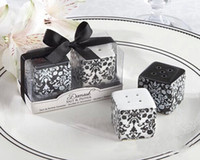 Wholesale 2015 Wedding Party Day Gifts Damask Ceramic Salt and Pepper Shakers
