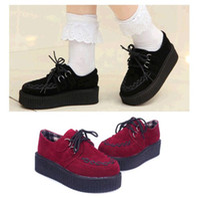 goth - Punk Goth Style Women Shoes Lace Platform Flat Casual Shoes Size DH04