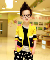 Wholesale Winter Long Sleeve Splicing Color Children boys Cardigan V neck kids Clothing Children Boys Outwear Fine Wool Jacket color Code L0110