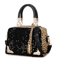 Wholesale European Fashion Ladies PU Leather Shoulder Bag Leisure Clubs Sequinned Leapord Tote Bag Luxury Handbag Women s Cross Body