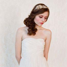 2014 Hair Jewelry Bridal Crystal Hair Clips Wedding Hair Jewelry Gold Headband Frozen Hair Vine Wedding Headpiece Bride Hair Accessories