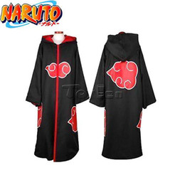 Wholesale HOT Anime NARUTO Cosplay Costumes Akatsuki Ninja Uniform Cloak S M L XL XXL Size HOODED