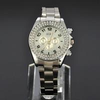 Dress Analog Stainless Steel SOKI Crystal Silver Case Womens Ladies Anlaog Quartz Wrist Metal Band Watch W116