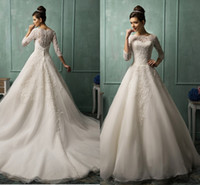 Cheap Amelia-sposa New Sheer Back Wedding Dresses Lace Beaded 3 4 long sleeve Ball gown Charming Garden Bridal Party Gowns 2014 Arabic