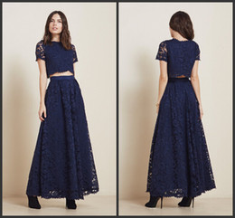 2015 Newest Bridesmaid Dresses Two Piece A Line Bateau Sheer Lace Short Sleeves Ankle Length Navy Blue Prom Gowns