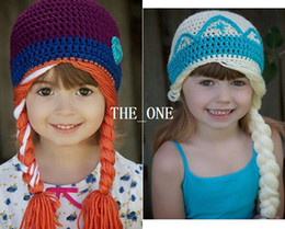 Wholesale crochet frozen hats kids girls baby handmade hat crochet knitting ELSA ANNA cap frozen winter hat in girls beanie hand knitted hat