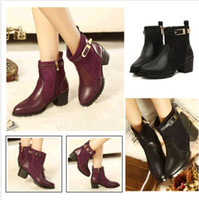 Wholesale Women Sexy Belt Cowboy Heels Pumps Work Ankle Martin Boots Booties Black Red DH04