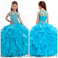 Cheap Shinning Beautiful Flower Girls Dresses for Wedding Beaded Ball Gown Organza Sheer Bodice Little Girls Pageant Gowns Party Dresses GH023