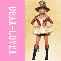 Wholesale 5PCS Deluxe Tea Party Hatter Costume LC8487 Deluxe medieval sexy women cosplay costume party fancy dress plus size XL