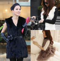 Wholesale 2014 European Fashion Faux Fur Woman Vest Coat V Neck Sleeveless Long Waistcoat Jacket Tank Tops Autumn Plus Size Outwear CW21029