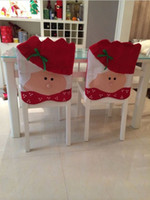 Wholesale Mr Mrs Santa Claus Christmas Kitchen Chair Covers Indoor Decorations Banquet Dinner Xmas Chairs Cover Non woven Free UPS Factory Price