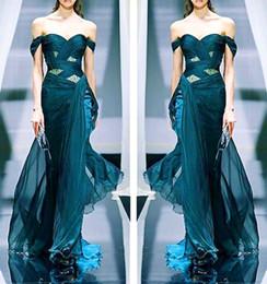 Wholesale Hot Elegant Sweetheart Off Shoulder Sexy Long Dark Blue Chiffon Beading Zuhair Murad Evening Dresses