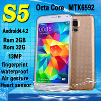 Wholesale NEW Waterproof S5 I9600 G900 Phone MTK6592 Octa Core Android Kitkat Inch x1080 G RAM G ROM mp G WCDMA GPS Mobile phone