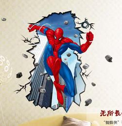 Wholesale AAA qualité Superman Spiderman D Sticker mural pour enfants Chambres mur adhésives maison spider man stickers muraux de décoration