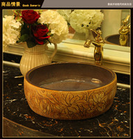 Wholesale Ceramic art basin lavatory basin carve patterns or designs on woodwork sky blue of the basin that wash a face on stage