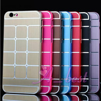 Wholesale For iPhone Aluminum Grid Ultra thin Metal Hard Back Case Cove Shell Skin For iPhone Plus Metal Case