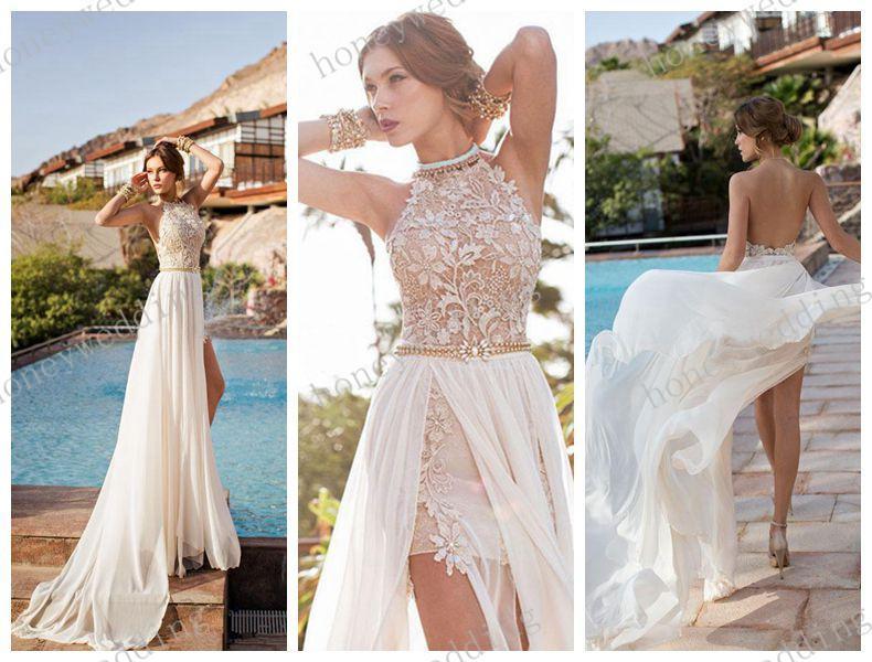 Julie vino 2014 backless wedding dresses eden halter high for High neck backless wedding dress