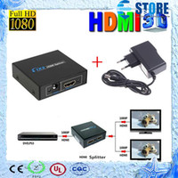 Wholesale 2 Port Hdmi Splitter D x2 HDMI Switch DC V Power Supply Adapter In Out Switcher For Audio HDTV P Vedio DVD wu