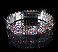 Wholesale 15 New Row Stretch Bangle Bracelet Colorful Rhinestones Wedding Party Bridal Jewelry Cheap Drop Shipping New Without Tags