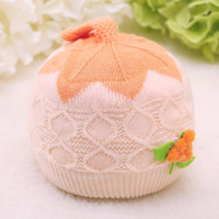 bell ice cream - Hot Sale Baby Lovely Ice Cream Cap For T Sweater Knit Warm cap Tomato Flower Bell Cap Kids Cotton Stripe Caps