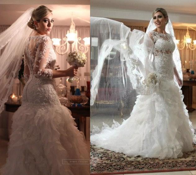 2014 Irresistible Long Sleeve Mermaid Bridal Dresses Illusion ...