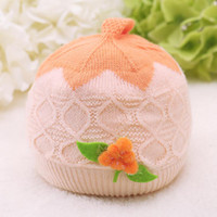 bell ice cream - New Arrival Baby Lovely Ice Cream Cap For T Sweater Knit Warm cap Tomato Flower Bell Cap Kids Cotton Stripe Caps