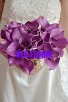 Wholesale Decorative flower Real touch light purple calla lily bundle wedding decoration