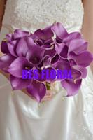 al por mayor paquetes reales-Flor decorativa Lámpara real de color púrpura calla lirio paquete decoración de la boda