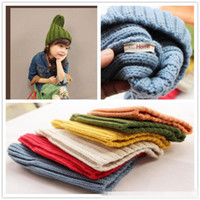 Wholesale Autumn and Winter Baby Lovely Smurfs Gallon Hat Baby Keep Warm Knit Christmas Hat Pure Color Whorl Caps Cotton Elasticity Cap