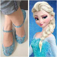 Wholesale Frozen Girls Queen Elsa Princess Sandals Anime Cosplay Shoes Fashion Lolita Sweet Children s Shoes Wedge Cheap Hollow Crystal Shoes TR35