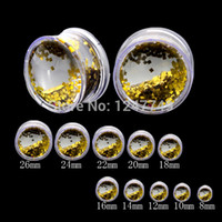 Wholesale White Acrylic artificial glitter ear gauges Tunnel Piercing Handcrafted Liquid ear expander body ear plugs