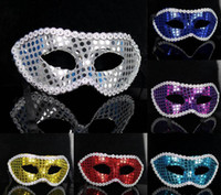 Wholesale 2014 New Hot Sale Party Mask with paillette Eye Masquerade Mask Cardan Ball Dancing Masks for Halloween Christmas LJJD99