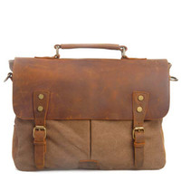 Wholesale Model European and American vintage canvas messenger bag with leather belt shoulder messenger bag laptop bag briefcase Men handbags